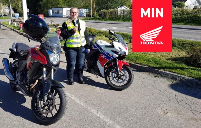 Anna Maria med sin Honda MC